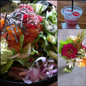 Poke bowl, strawberry hibiscus tea, bouquet gift